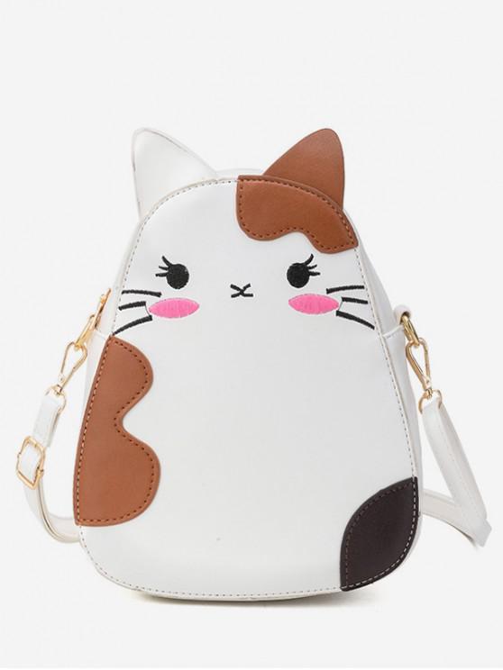 Bolsa de verano con estampado animal de gato - Blanco