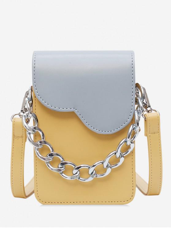 fashion Chain Decor Mini Crossbody Bag - YELLOW