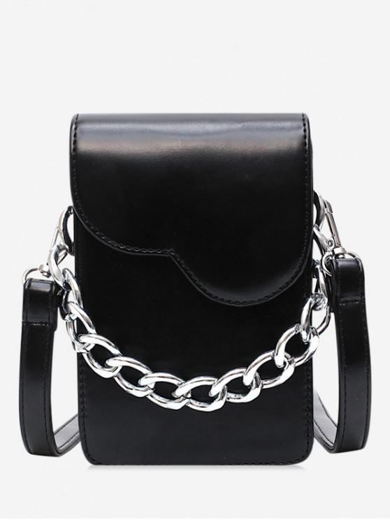 chic Chain Decor Mini Crossbody Bag - BLACK