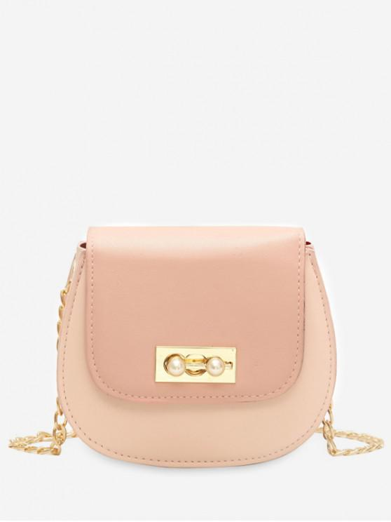 affordable Faux Pearl Chain Flap Crossbody Bag - PINK