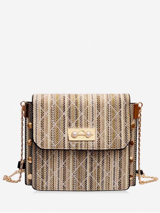 womens Stripe Pattern Flap Crossbody Bag - BEIGE