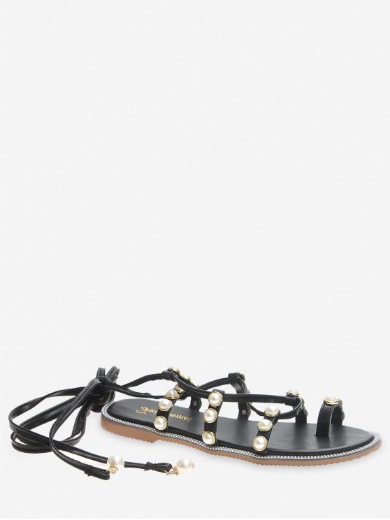 shop Faux Pearl Decoration Toe Ring Sandals - BLACK EU 39