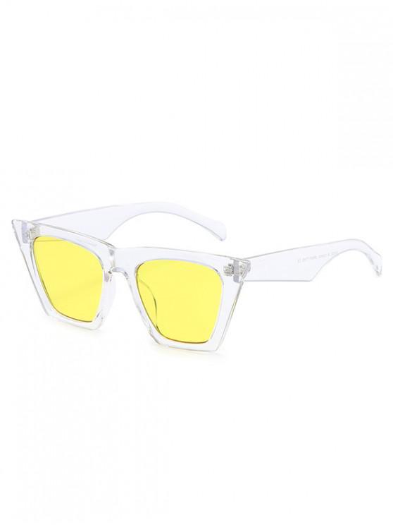 trendy Square Kitty Eye Polarized Sunglasses - YELLOW
