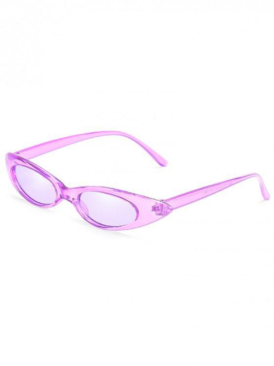 chic Catty Eye Polarized Oval Sunglasses - PURPLE FLOWER