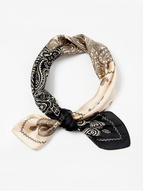 sale Paisley Print Two Tone Square Scarf - BLACK
