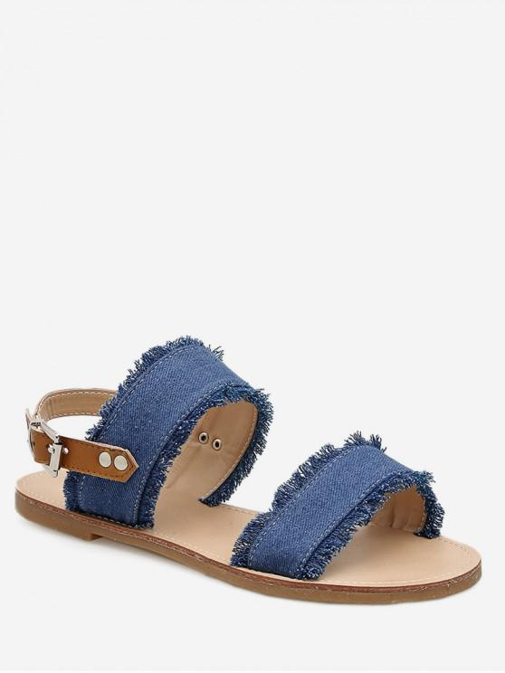13800282ab2 27% OFF   NEW  2019 Ripped Denim Flat Sandals In DENIM DARK BLUE