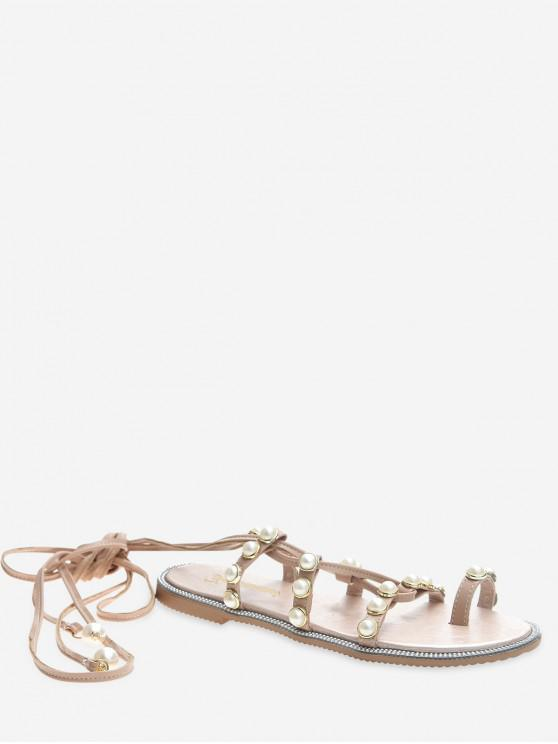 outfits Faux Pearl Decoration Toe Ring Sandals - PIG PINK EU 39