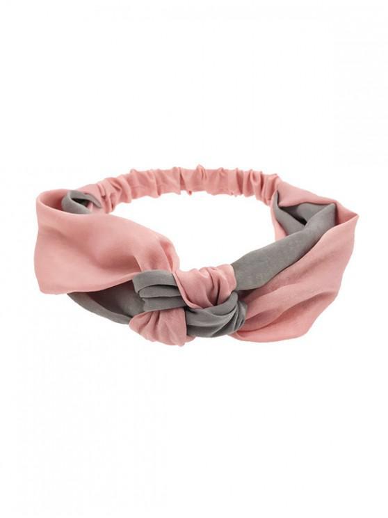 fancy Color Block Knot Elastic Headband - PINK