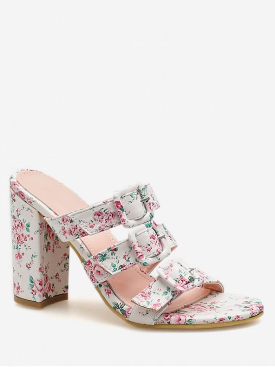 latest Floral Denim Buckled High Heel Slides - PINK EU 35