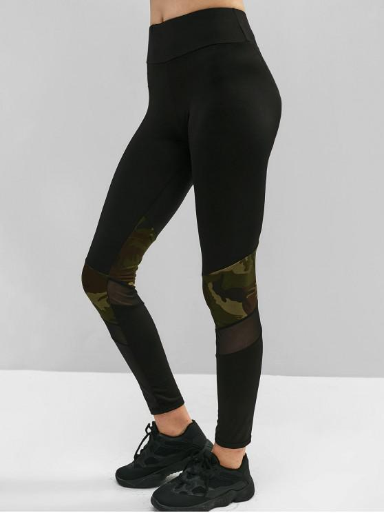 fashion Camo Mesh Insert Skinny Leggings - BLACK M