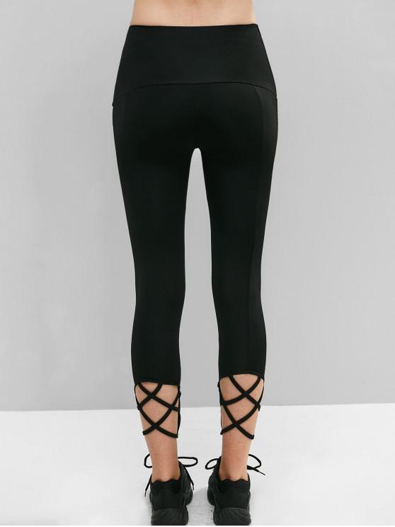unique Criss Cross Crop Leggings - BLACK L