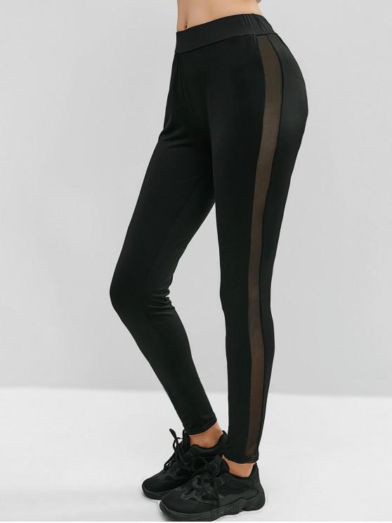 affordable Mesh Side Skinny Leggings - BLACK S