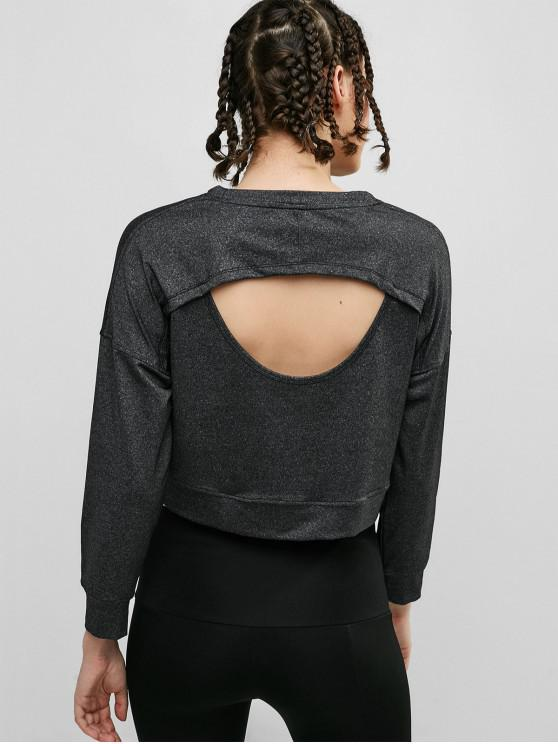 ladies Cut Out Heather Crop Sweatshirt - CARBON GRAY L