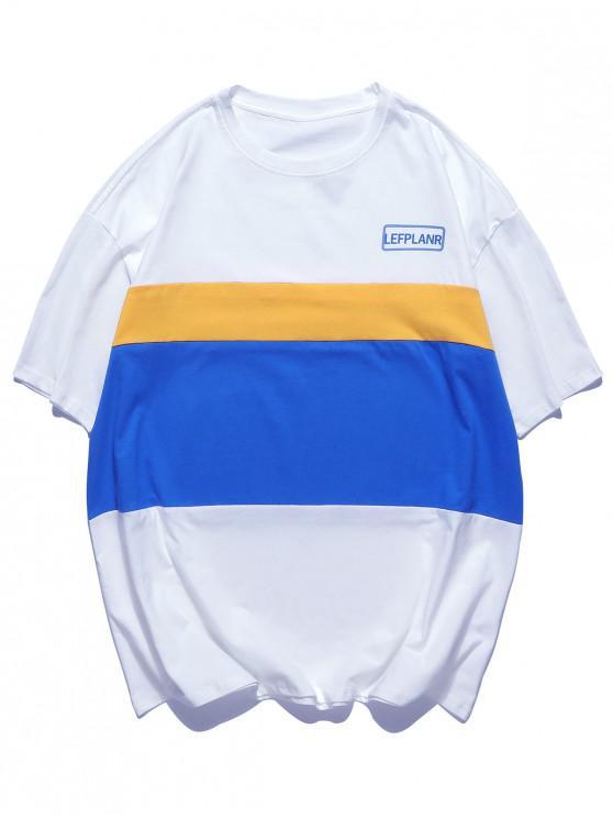 shops Color Block Splicing Short Sleeevs T-shirt - WHITE 2XL