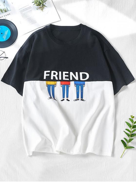 trendy Two Tone Letters Print Panel T-shirt - BLACK L