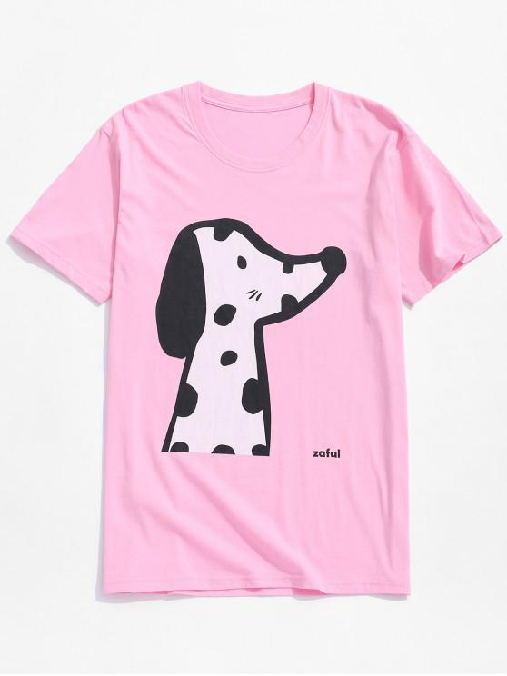 39746238 14% OFF] 2019 Animal Dog Print Short Sleeves T-shirt In PINK | ZAFUL ...