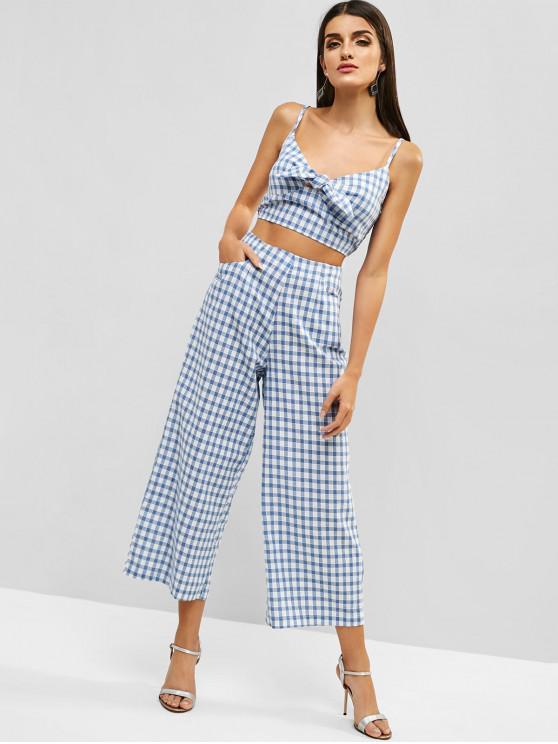 women's ZAFUL Shirred Gingam Camisole and Pants Set - BLUE KOI M