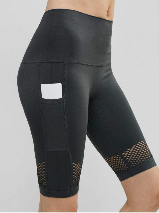 Pantaloncini da palestra a vita alta con cinturino aperto - Grigio Battleship  M
