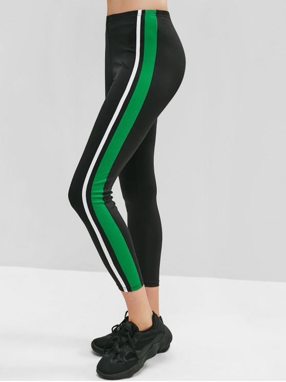 outfits ZAFUL Striped Side Skinny Gym Leggings - BLACK M