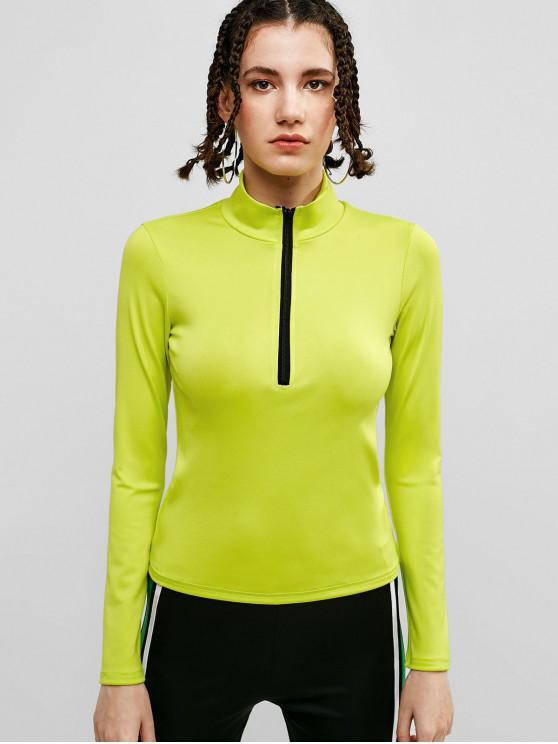 trendy ZAFUL Half Zipper Stand Collar T-shirt - TEA GREEN L