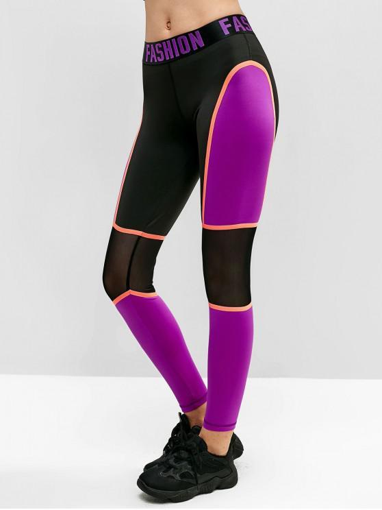 womens Mesh Insert Graphic Color Block Leggings - BLACK M
