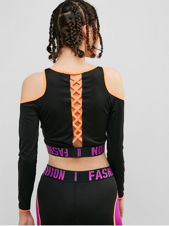 ladies Cold Shoulder Criss Cross Graphic T-shirt - BLACK M