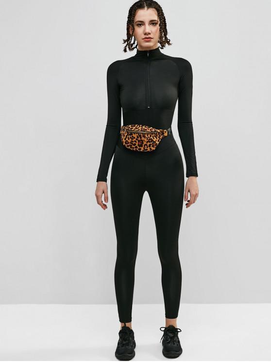 hot Long Sleeve Front Zip Gym Jumpsuit - BLACK M