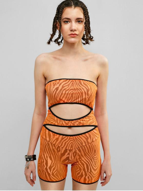 shop Cut Out Mesh Zebra Bandeau Romper - SANDY BROWN M
