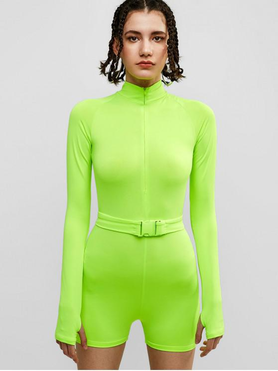 trendy Long Sleeve Neon Gym Belted Romper - TEA GREEN L