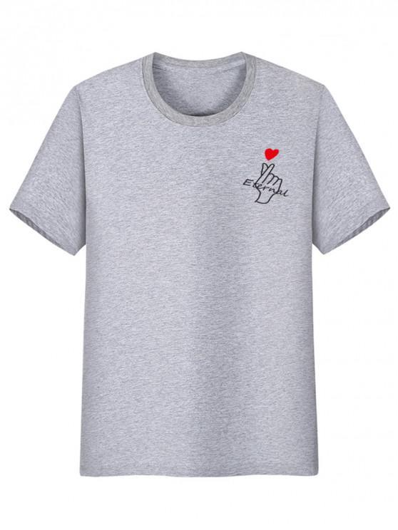 latest Finger Heart Print Casual T-shirt - GRAY CLOUD XS