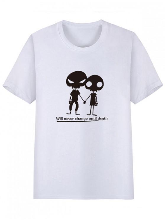 buy Alien Pattern Print Short Sleeves T-shirt - WHITE XS