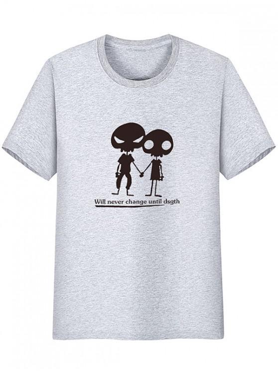 T-shirt à manches courtes à motif Alien - Nuage Gris L