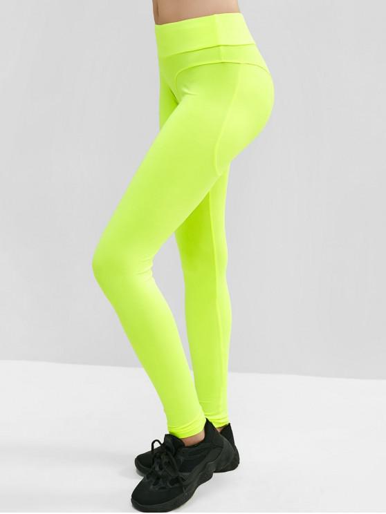 Meados de ascensão Neon desportivo Yoga Leggings - Verde de Pistache  L