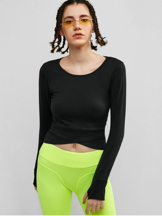ladies Tulip Hem Thumbhole Crop T-shirt - BLACK S
