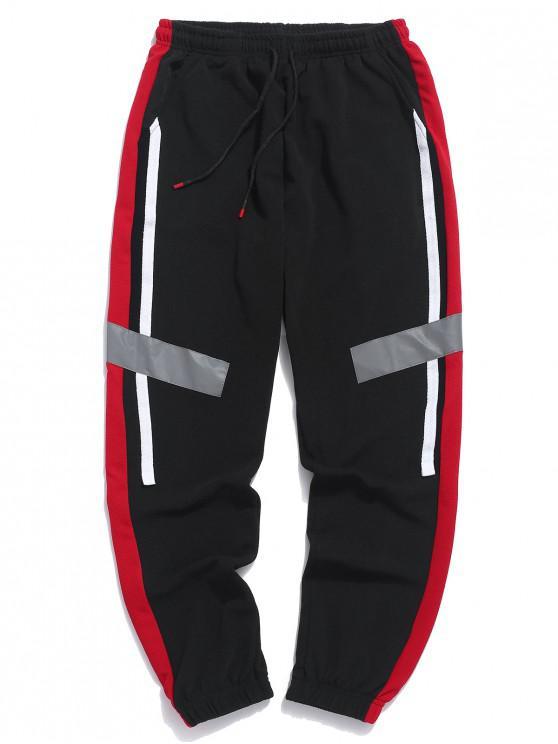 new Color Block Panel Drawstring Jogger Pants - RED L