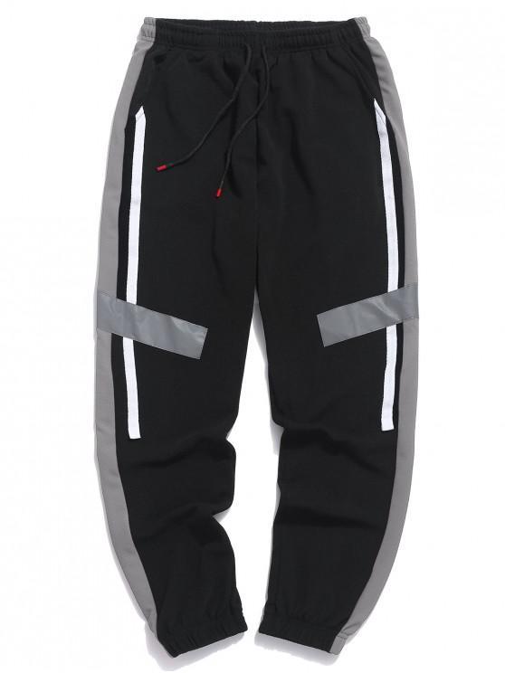 Pantalones de jogger con cordón de paneles de bloques de color - Nube Gris L