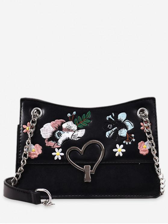 lady Flower Embroidery Metal Heart Crossbody Bag - BLACK