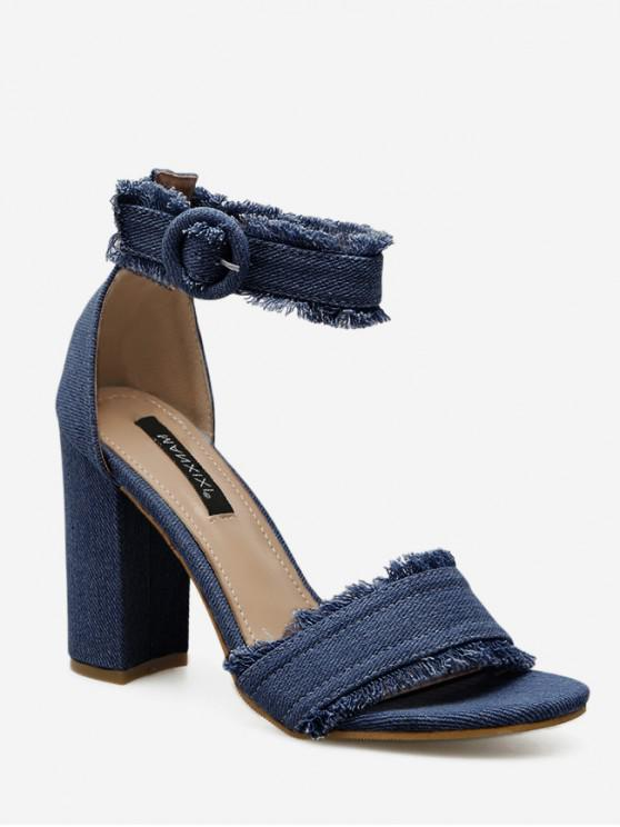 outfit Ripped Denim Buckled High Heel Sandals - DENIM DARK BLUE EU 39