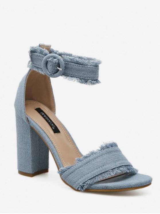 shop Ripped Denim Buckled High Heel Sandals - JEANS BLUE EU 39