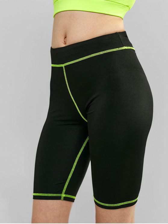 outfits Skinny Elastic Gym Biker Shorts - BLACK S