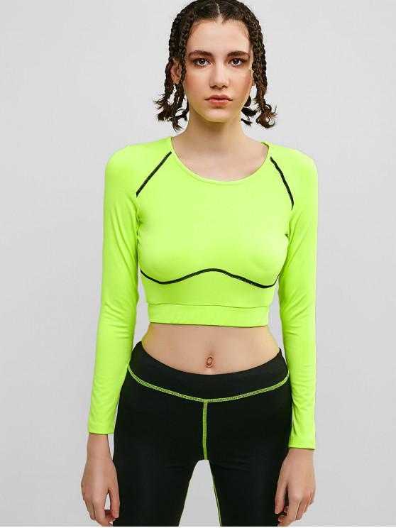 fashion Long Sleeve Crop Neon Gym Tee - PISTACHIO GREEN L