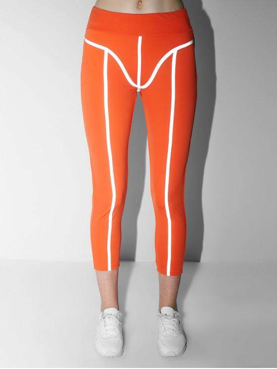 buy Mid Waisted Neon Reflective Gym Leggings - MANGO ORANGE L