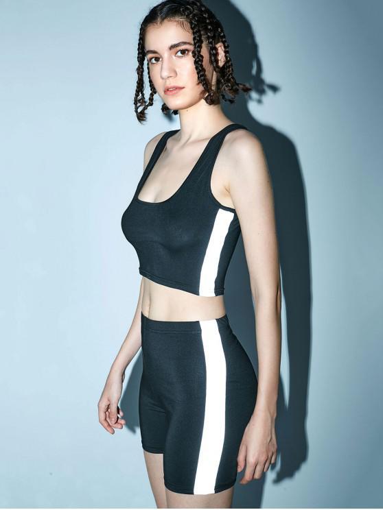women Reflective U Neck Gym Top and Shorts Set - BLACK M