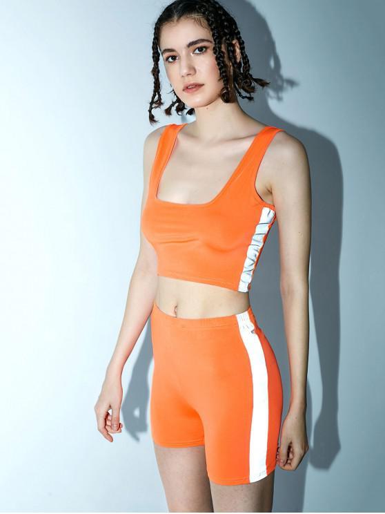 Set da ginnastica e shorts riflettenti con collo a U - Arancione Mango M