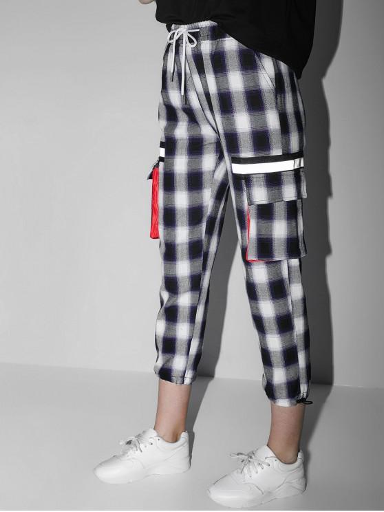 fashion Reflective Plaid Drawstring Gym Jogger Pants - PURPLE SAGE BUSH M