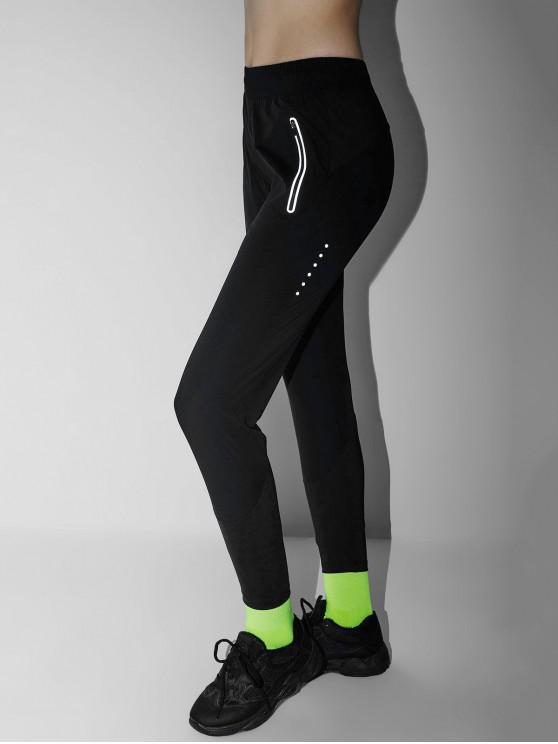 outfits Reflective Zipper Pocket Gym Pants - BLACK L