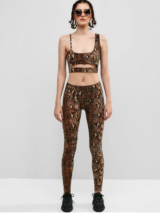 outfits Snake Print Crop Top and Leggings Gym Suit - MULTI L