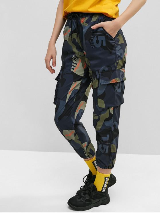 Pantaloni casual da jogger con cappuccio e coulisse mimetici - Multi Colori-A XL