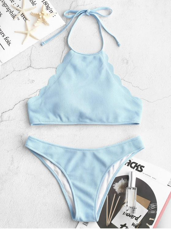 shop ZAFUL Ribbed Scalloped Halter Bikini Set - LIGHT SKY BLUE M