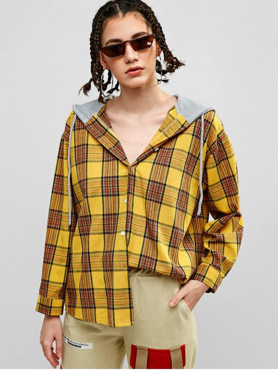 shops Plaid Oversized Hooded Tunic Shirt - BEE YELLOW ONE SIZE